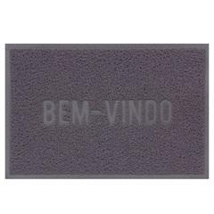 Capacho Vinílico Color Block 60x40cm Cinza - Uzoo