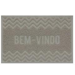 Capacho Vinílico Zigzag 60x40cm Bege - Uzoo