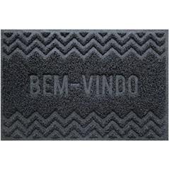 Capacho Vinílico Zigzag 60x40cm Cinza Dark Gray - Uzoo
