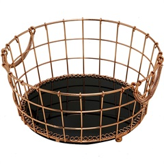 Cesto Decorativo em Metal E Vidro Redondo 20cm Bronze - Importado