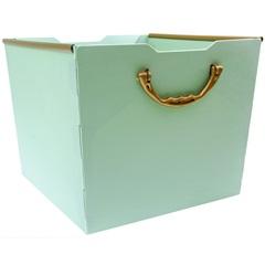 Cesto Organizador com Pegador Protêa 22,5x27,5cm Verde Escuro - Dello
