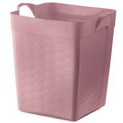Cesto Organizador Quadrado em Plástico 18 Litros Rosa - Sanremo