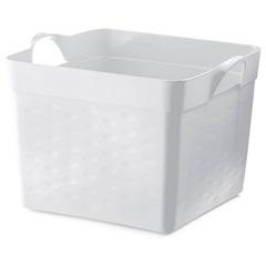 Cesto Organizador Quadrado em Plástico 22 Litros Branco - Sanremo