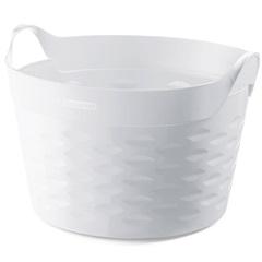 Cesto Organizador Redondo em Plástico 30 Litros Branco - Sanremo