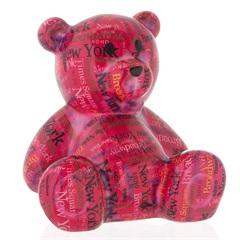 Cofre em Cerâmica Bear 16,3cm Pink - Casa Etna