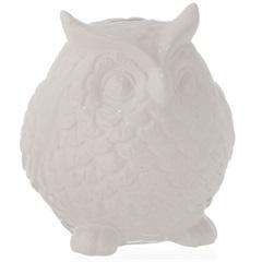 Cofre em Cerâmica Coruja 17cm Branco - Casa Etna