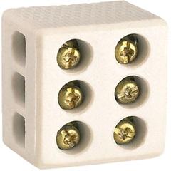 Conector de Porcelana Tripolar 25a 250v com 10mm Branco - Kit-Flex
