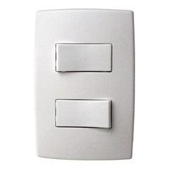 Conjunto com 2 Interruptores Simples com Placa Pialplus Ref. 612100  - Pial Legrand