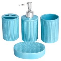 Conjunto de Acessórios para Banheiro Azul com 4 Peças - Casanova