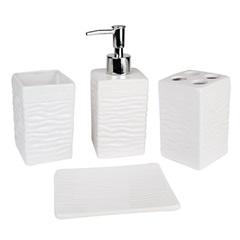 Conjunto de Acessórios para Banheiro com 4 Peças Branco E Cromado - Casanova