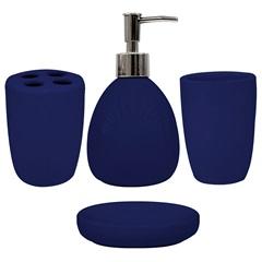 Conjunto de Acessórios para Banheiro em Cerâmica com 4 Peças Azul Marinho - Casanova