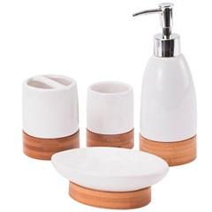 Conjunto de Acessórios para Banheiro em Cerâmica com 4 Peças Bambu