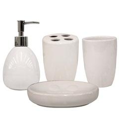 Conjunto de Acessórios para Banheiro em Cerâmica com 4 Peças Branco - Casanova