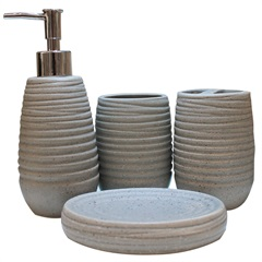 Conjunto de Acessórios para Banheiro em Cerâmica com 4 Peças Cinza - Casanova