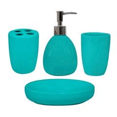 Conjunto de Acessórios para Banheiro em Cerâmica com 4 Peças Turquesa - Casanova