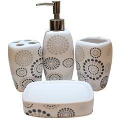 Conjunto de Acessórios para Banheiro em Cerâmica Mandalas com 4 Peças Branco E Preto - Casanova