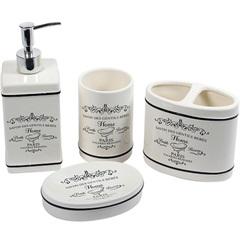 Conjunto de Acessórios para Banheiro em Cerâmica Paris com 4 Peças Branco - Casanova
