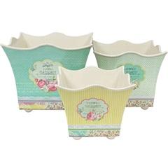 Conjunto de Cachepot em Plástico Quadrado Provençal com 3 Peças Amarelo E Verde - BTC