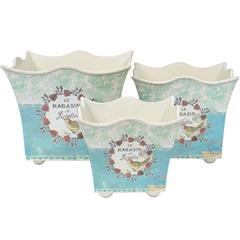 Conjunto de Cachepot em Plástico Quadrado Provençal com 3 Peças Azul E Branco