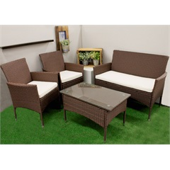 Conjunto de Cadeiras E Mesa com Pés em Fibra Sintética com 4 Peças Marrom