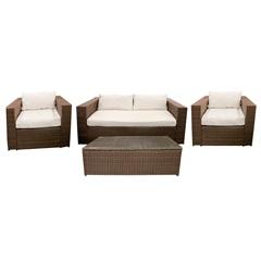 Conjunto de Cadeiras E Mesa em Fibra Sintética com 4 Peças Marrom - Casanova