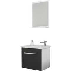 Conjunto de Gabinete E Espelheira em Mdf Ágata Preto - Cozimax