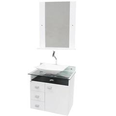 Conjunto de Gabinete E Espelheira em Mdf Classic Branco E Preto - Bonatto