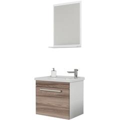 Conjunto de Gabinete E Espelheira em Mdf com Tampo Ágata 44,5cm Branco E Tamarindo - Cozimax