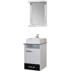 Conjunto de Gabinete E Espelheira em Mdf com Tampo de Vidro Caribe Branco E Preto - Bonatto