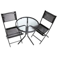 Conjunto de Jardim com Mesa E 2 Cadeiras Preto - Importado