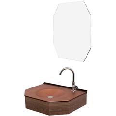 Conjunto de Lavabo E Espelheira em Mdf 55cm Bronze - Cris Metal
