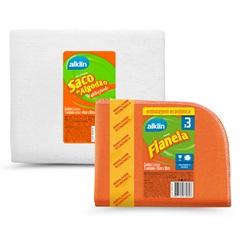 Conjunto de Pano de Limpeza Alvejado E Flanela 4 Unidades - Alklin