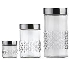 Conjunto de Potes de Vidro com Tampa Losangos com 3 Peças - Euro