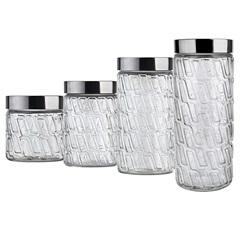 Conjunto de Potes de Vidro com Tampa Mosaico com 4 Peças - Euro
