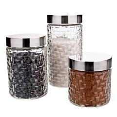 Conjunto de Potes de Vidro com Tampa Rattan com 3 Peças - Euro