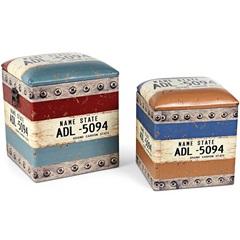 Conjunto de Puffs em Madeira Placa com 2 Peças - Importado