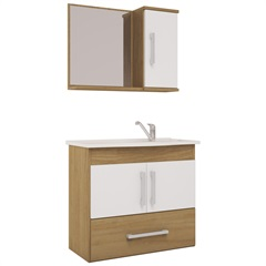 Conjunto Gabinete E Espelheira com Tampo Atenas Branco E Nogueira - MGM Móveis