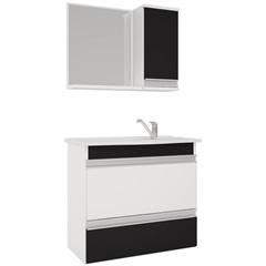 Conjunto Gabinete E Espelheira em Mdf com Tampo Grécia Branco E Preto - MGM Móveis
