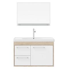 Conjunto Gabinete E Espelheira Prócion 60cm Berlin E Branco - Cerocha