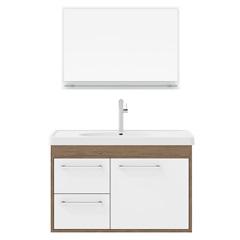 Conjunto Gabinete E Espelheira Prócion 60cm Munique E Branco - Cerocha