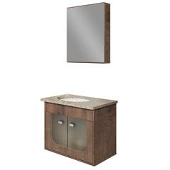 Conjunto Gabinete Suspenso com Cuba E Espelheira Siena 45x56,8cm Wengue E Amarelo - Gaam