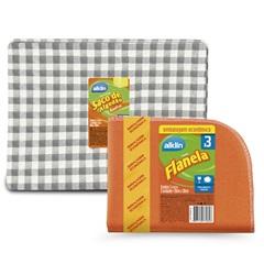 Conjunto Pano de Limpeza Xadrez E Flanela 4 Unidades - Alklin