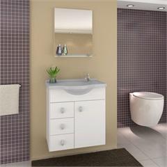 Conjunto para Banheiro Astro com Tampo E Espelho 50cm Cinza - Darabas Agardi