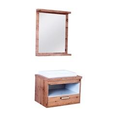 Conjunto para Banheiro com Cuba Mendonza 70,5x61cm Amêndoa E Branco - Irmãos Corso