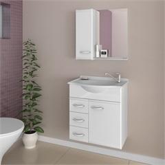 Conjunto para Banheiro Ferrara com Tampo E Espelho 50cm Branco - Darabas Agardi