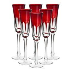 Conjunto Taça de Cristal para Champagne Aurora 120ml Vermelha com 6 Peças - Wolff