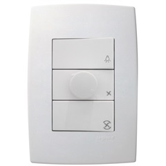 Controlador de Velocidade para Ventilador 110v com Interruptores E Placa 4x2 Pialplus Branco - Pial Legrand