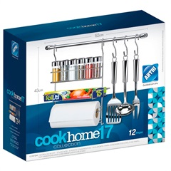Cook Home para Cozinha com 3 Ganchos E 6 Porta Condimentos 49cm Cromado