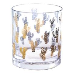 Copo em Acrílico Cactus 380ml Transparete E Dourado - Casanova