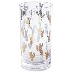 Copo em Acrílico Cactus 560ml Transparete E Dourado - Casanova